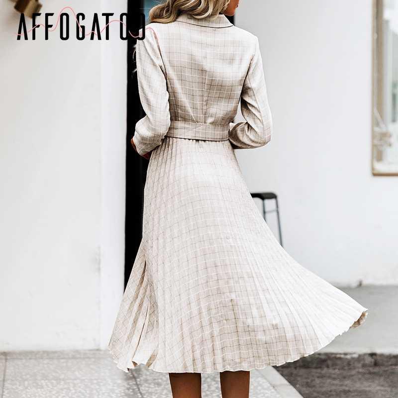 Afogafoo элегантный двубортный плиссированный клетчатый Блейзер Платье женское ТРАПЕЦИЕВИДНОЕ ПЛАТЬЕ С Поясом женское офисное платье с длинным рукавом