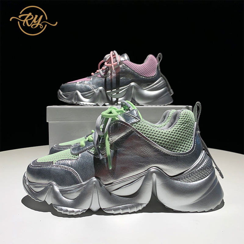 RY-RELAA Women Fashion Sneakers Women 2018 Platform Sneakers Ins Womens Luxury Shoes Genuine Leather Wedge Sneakers Casual Shoes