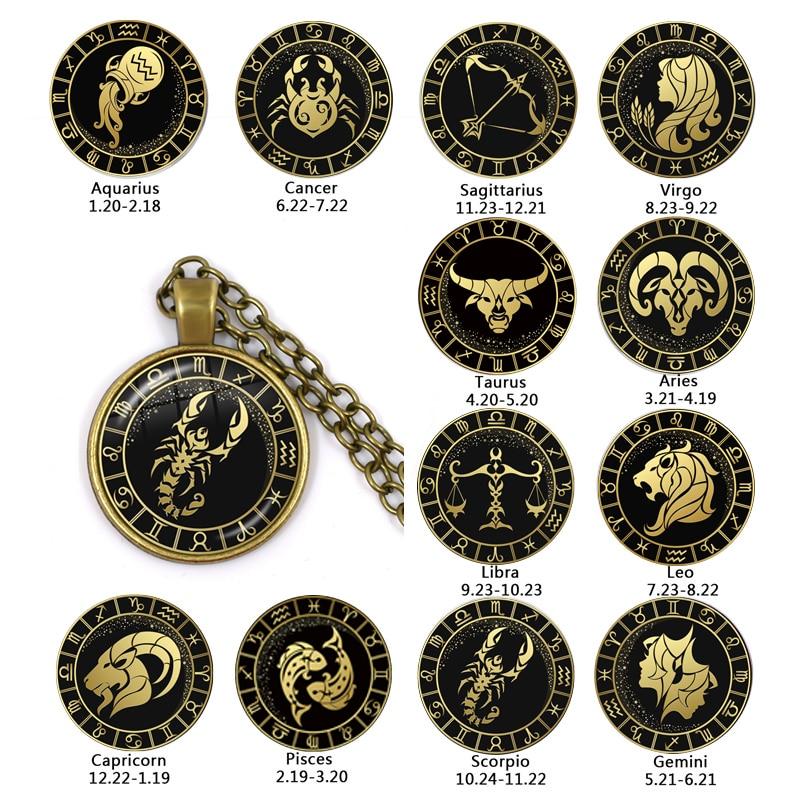 12 Constellation Scorpio Sagittarius Capricorn Aquarius Pendant Antique Bronze Necklace Glass Dome Zodiac Jewelry For Gift
