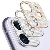 Lujosa funda protectora a prueba de golpes para iPhone 11, 12, 13 Pro Max, Mini, brillante, con diamantes de imitación y purpurina, para cámara de teléfono