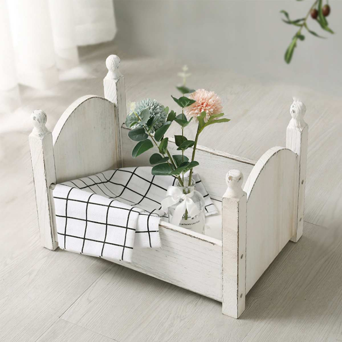 Retro Wooden Bed For Newborn Photography Props Baby Cribs Small Bed Basket Sofa Crib Photo Studio Photography Baby Photo Gift