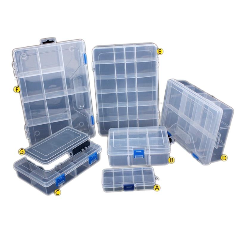 Adjustable Transparent Plastic Storage Box For Terminal Small Component Jewelry Tool Box Bead Pills Organizer Nail Art Tip Case