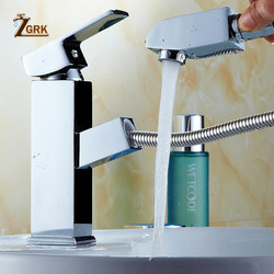 ZGRK Basin Faucets Pull Out Bathroom Faucet Single handle Basin Mixer Tap Bath Faucet Stainless steel Sink Water Crane SLT104