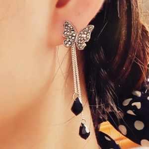 2019 קוריאני הלוהטים אופנה פרפר תליון ארוך סעיף ציצית מים זרוק מתנדנד קריסטל Drop עגילים לנשים תכשיטים