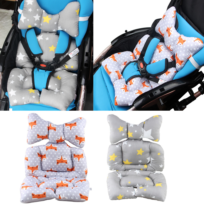 Baby Stroller Cotton Cushion Seat Cover Mat Breathable Soft Car Pad Pushchair Urine Pad Liner Cartoon Star Mattress Baby Cart