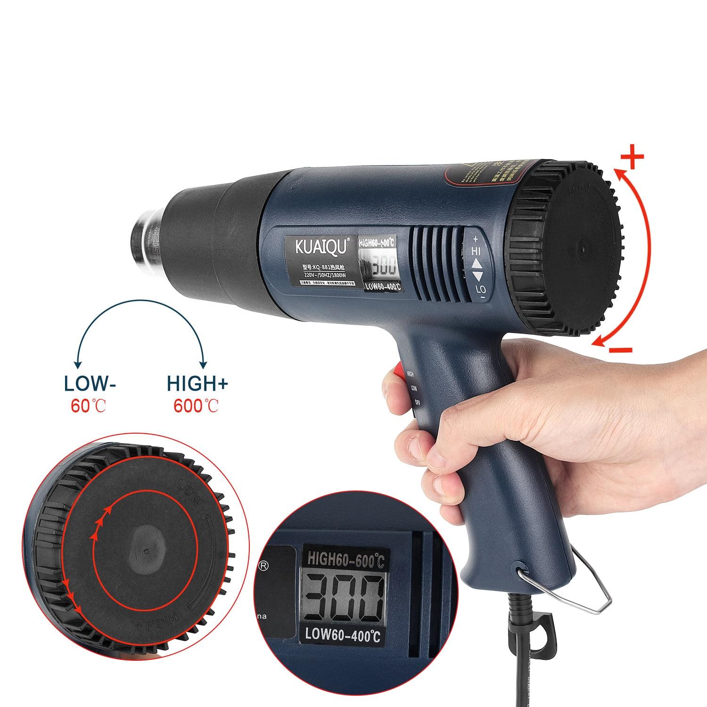 1800 Вт Цифровой Пистолет горячего воздуха 220 В с температурным контролем Тепловая пушка фен для волос пайка фен строительный инструмент|Термофены|   | АлиЭкспресс