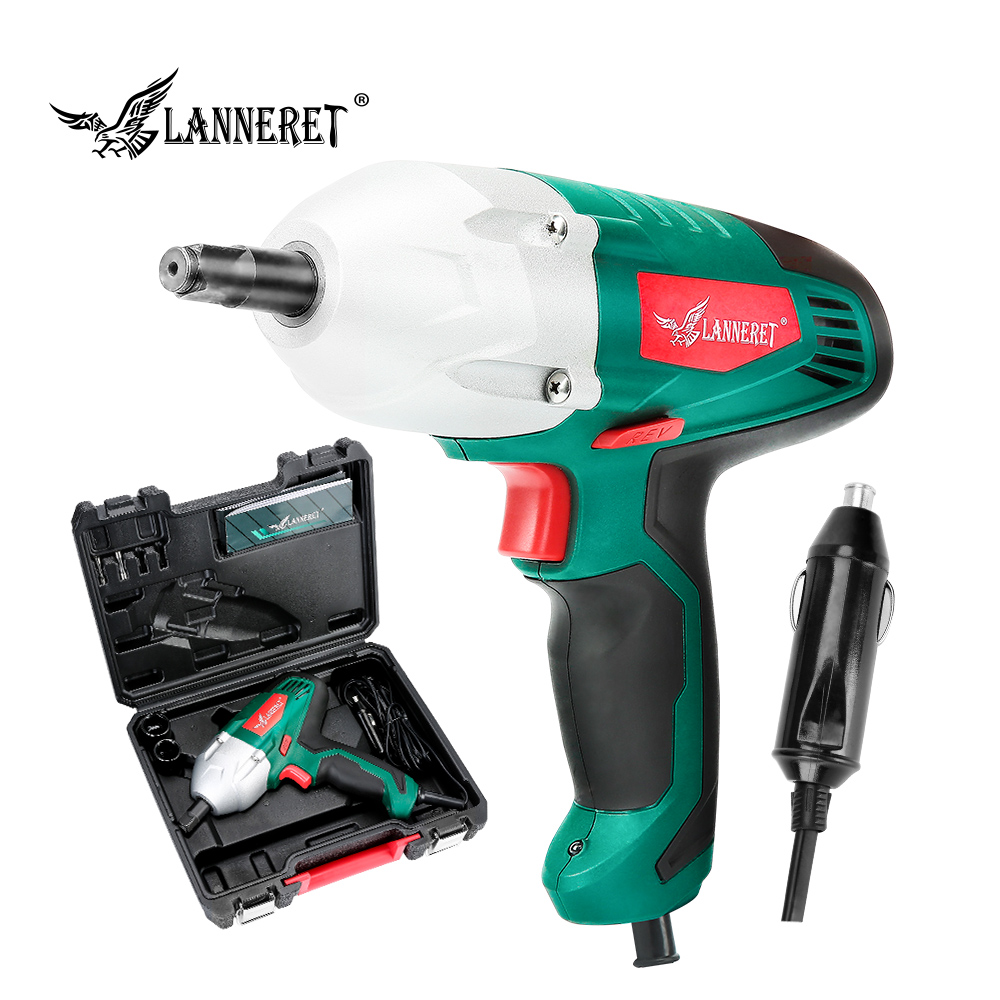 LANNERET Electric Wrench 12v Impact Wrench 300N.m Torque 80W Wrench Tire Repair Tool  Cigarette Lighter