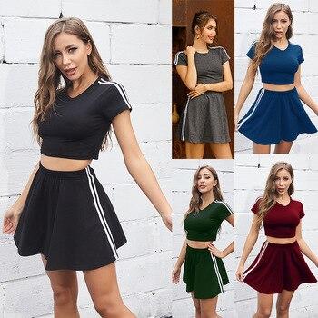 2021 Summer Mew Solid Striped Short Sleeve Top Skirt Sportswear Women's Summer Casual Suit Skirt + T-shirt Short Skirt Suit 1