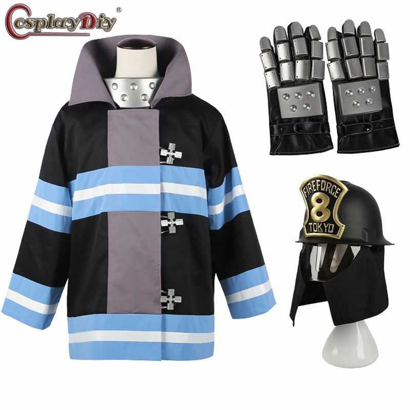 Cosplaydiy Fire Force No.8 Special Team Uniform Fireman Cosplay Shinra Kusakabe Costume Gloves Safety Helmet Halloween Outfits