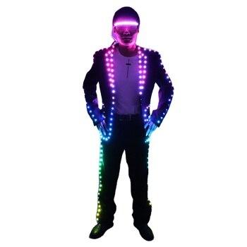 цена Full Color Digital LED Illuminating Suit, IC Remote Control LED Jacket for Bar Hosting, Wedding Men's dress Costume Tron suit онлайн в 2017 году