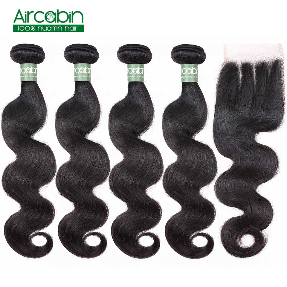 Aircabin Body Wave Bundels Met Sluiting Peruaanse 4 Bundels Menselijk Haar Weefsel En Vetersluiting Remy Hair Extensions Gratis Verzending