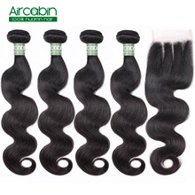 Aircabin Body Wave Bundles With Closure Peruvian 4 Bundles Human Hair Weave And Lace Closure Remy Hair Extensions Free Shipping(China)