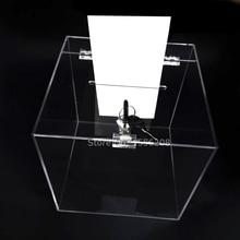 Прилавок 23 см квадратная акриловая коробка для сбора подарков Perspex коробка для сбора средств с замком для церковной неприбыльной группы
