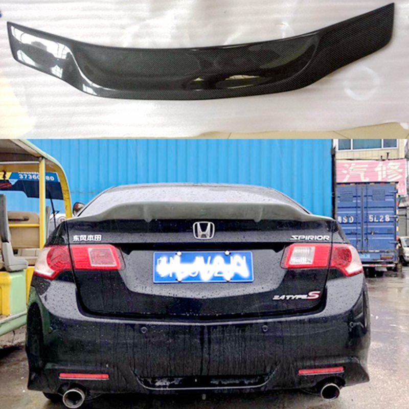 Estilo do carro r estilo brilho de fibra de carbono/frp tronco traseiro spoiler asa apto para accord spirior acura tsx 2009-2013