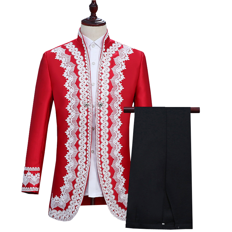 New Men's Two-piece European Style Retro Court Suit Set(two-color Coat + Pants)prince Costume Stage Drama British Clothing