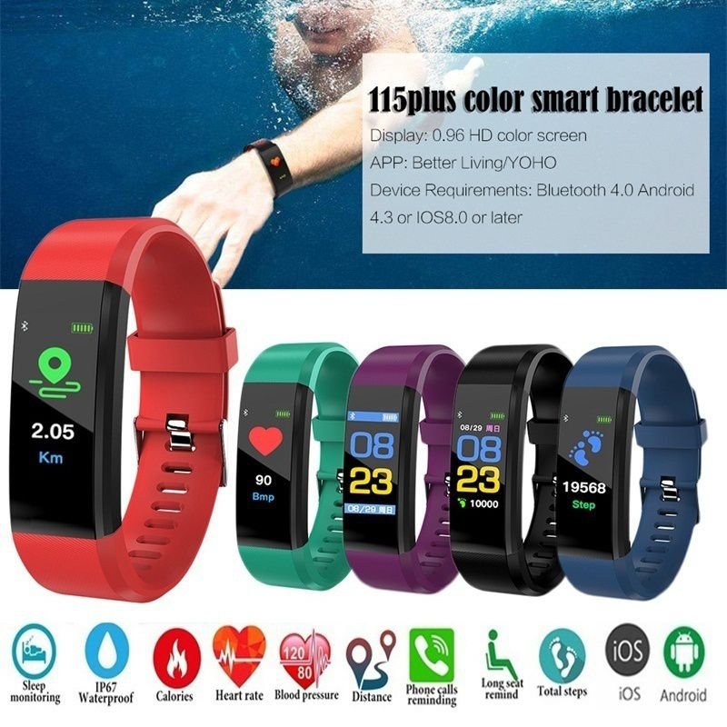 New ID115 Plus Sports Watch Bluetooth Waterproof Belt Call Message Reminder Heart Rate Fitness Pedometer Men And Women Bracelet