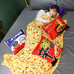 Image 4 - Kawaii Blanket Simulation Instant Noodles Plush Pillow with Blanket Stuffed Beef Fried Noodles Gifts Plush Pillow Food Plush Toy