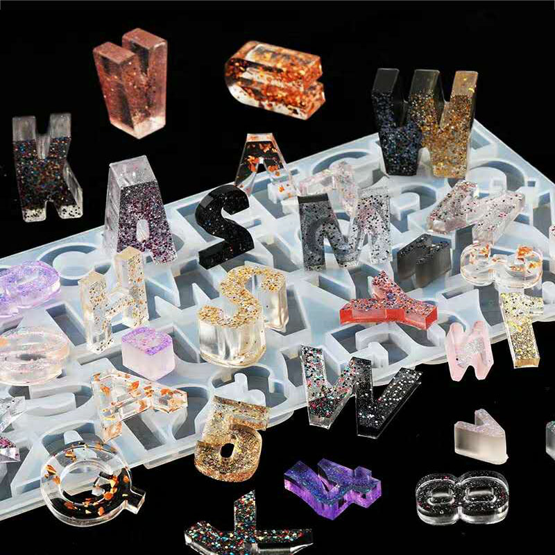 DIY Crystal UV Epoxy Resin Numbers 26 Letters Mold High Mirror Crafts Making Silicone Mold For Resin DIY Jewelry Making Accessor