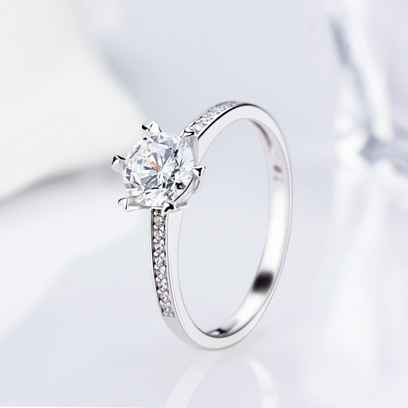 LGSY Fine Jewelry Wedding Rings 925 Sterling Silver Engagement Rings Irregular Design Romantic Crystal Round Rings For Women 1PC