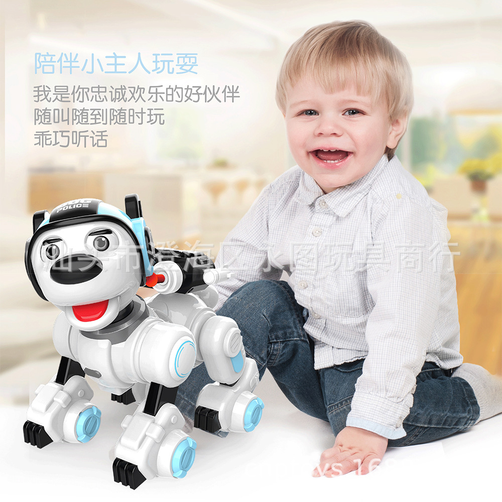 Vibration Into R04 Smart Remote Control Multi-functional Police Dog Sensing Early Education Programming Robot Dog Storytelling R