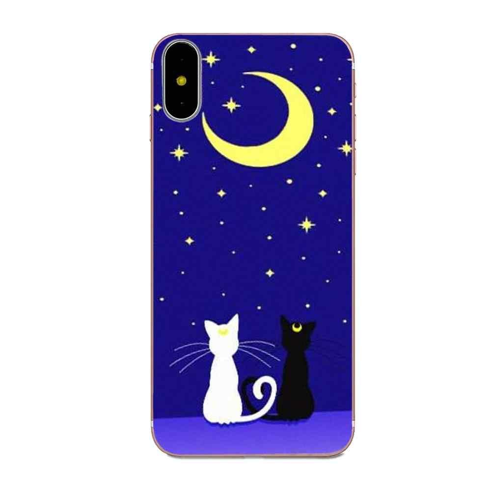 Dành Cho Samsung Galaxy Note 5 8 9 S3 S4 S5 S6 S7 S8 S9 S10 5G Mini Edge Plus lite TPU Di Động Túi Thủy Thủ Mặt Trăng Và Mèo