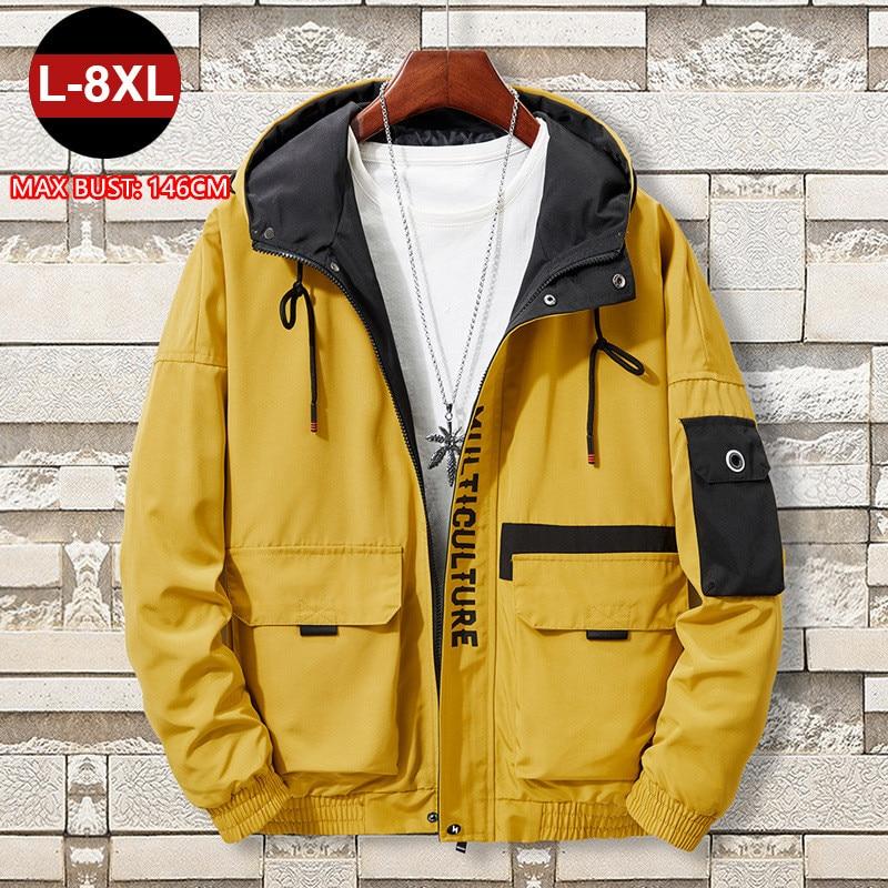 Mens Jackets And Coats Man Autumn 2020 Cargo Black Windbreaker Hoodies Cool 6XL 7XL 8XL Hiphop Men Clothing Veste Teenager Coat