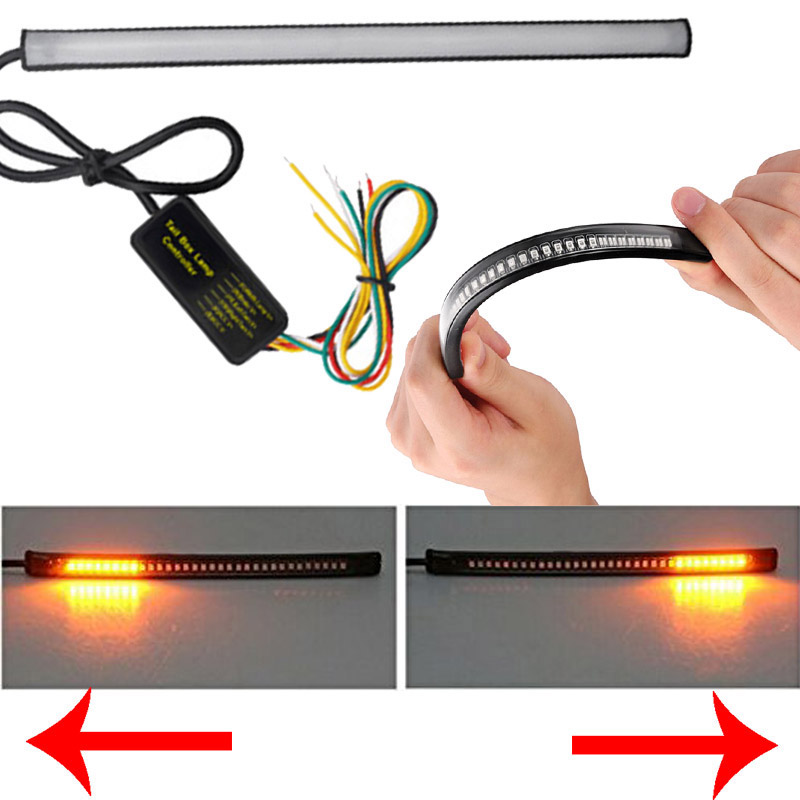 Motorcycle Light Bar Strip Tail Brake Stop Turn Signal License Plate Light Integrated 5050 SMD 48 LED Red Amber Color