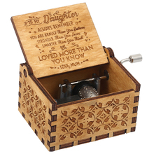 Classical Music Box Carved Wooden Hand Crank You Are My Sunshine Engraved Toy Kids Christmas Gift Birthday Present