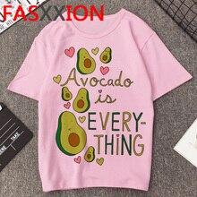 Kawaii avokado T Shirt kadın yaz üst estetik T shirt kore tarzı Vegan grafik Tshirt artı boyutu Unisex en Tees kadın