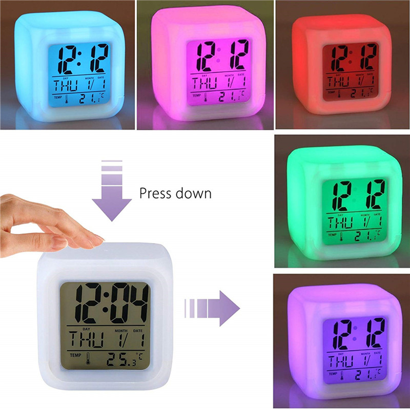 LED Alarm Colock 7 Colors Changing Digital Desk Gadget Digital Alarm Thermometer Night Glowing Cube Table Digital Clock Decor