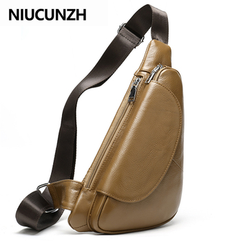 NIUCUNZH Genuine Leather Men's Shoulder Bag Men's Messenger Bag Small Crossbody Bags For Men Chest Pack Leather Sling Bags Men qibolu genuine leather mens sling bag single shoulder bag men chest pack messenger crossbody bag for man bolsas masculina mba37