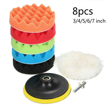 8Pcs/Set Car Polishing Pad 3/4/5/6/7 Inch Sponge Buffing Waxing Boat Car Polish Buffer Drill Wheel Polisher Removes Scratches