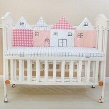4 шт., ударная защита для кроватки, подушки в форме домика, детская кроватка, бамперы, хлопок, детская кровать, забор, Мягкая кроватка для новорожденного, бампер, постельные принадлежности