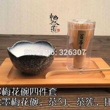 Япония ручной работы bator комплект маття подарок венчик чаша Совок чайный сервиз, совок умеренный японский зеленый чай teaware китайский цветок сливы