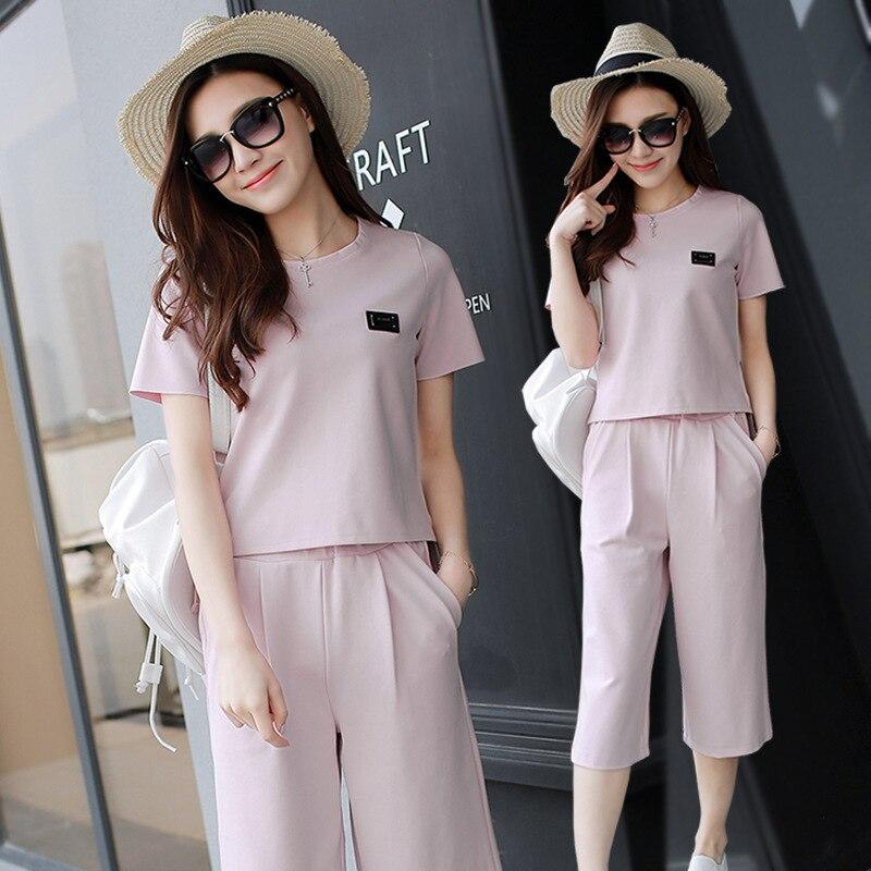 2017 New Style Chiffon Summer Wear Dress Two-Piece Set Summer Korean-style Clothes Fashion Set Loose Pants Skirt Women's Fashion
