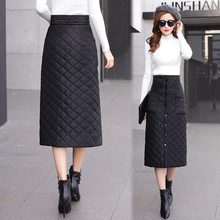 2019 Winter Warm Thick Down Cotton Skirt New Solid Black High Waist Single-breasted Button Pocket Knee-length Midi A Line Skirt(China)