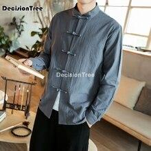 2021 men chinese traditional long sleeve cotton linen tang suit wu shu tai top shaolin kung fu wing chun shirt costumes tai chi