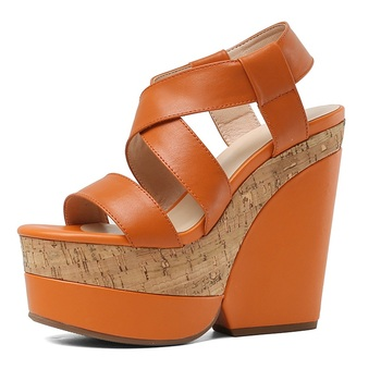 Women Sandals Soft Genuine Leather Slip On sexy wedges high heels platform shoes woman dress party wedding gladiator sandals 39