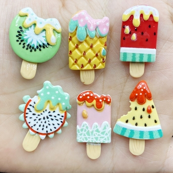 10Pcs Kawaii Cute Mixed fruit popsicle Flat back Resin Cabochons Scrapbooking DIY Jewelry Craft Decoration Accessories D67