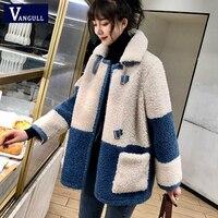 Vangull Elegante Patchwork Faux Pelz Mantel Frauen 2020 Winter Warme Weiche Zweireiher Pelz Jacke Weibliche Plüsch Mantel mit Tasche