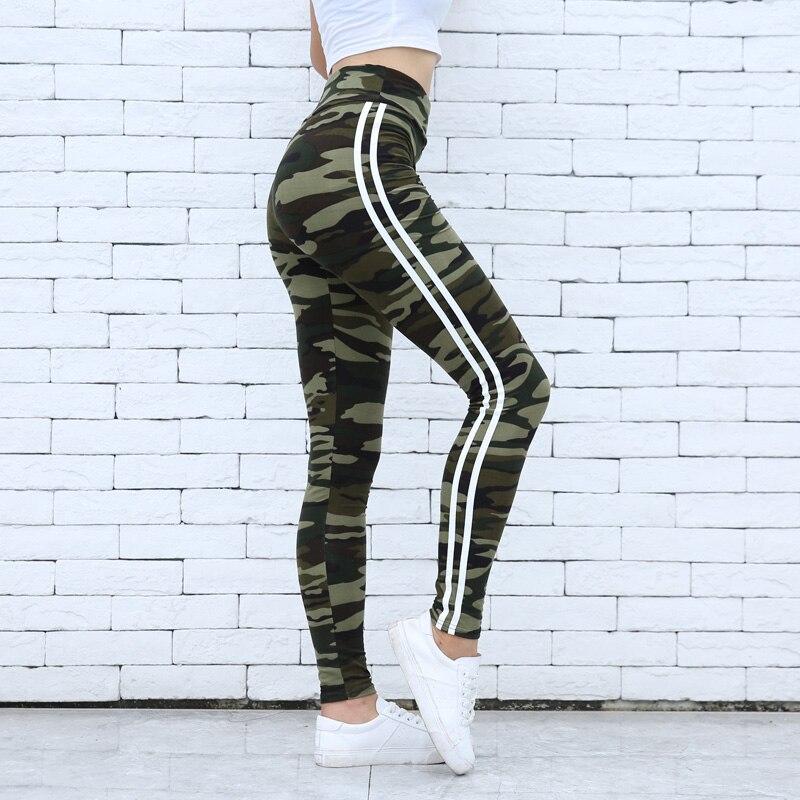 Women Camo Legging Two Side White Stripes Skinny Leggings  Casual Leggings Fitness Elastic Waist Women Stretchy Workout Leggings