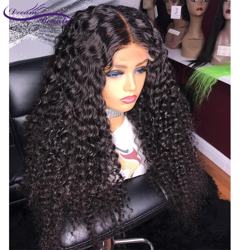 Curly Lace Front Human Hair Wigs 13X4 Brazilian Remy Hair Lace Wigs 180% Density PrePlucked Hairline With Baby Hair Dream Beauty