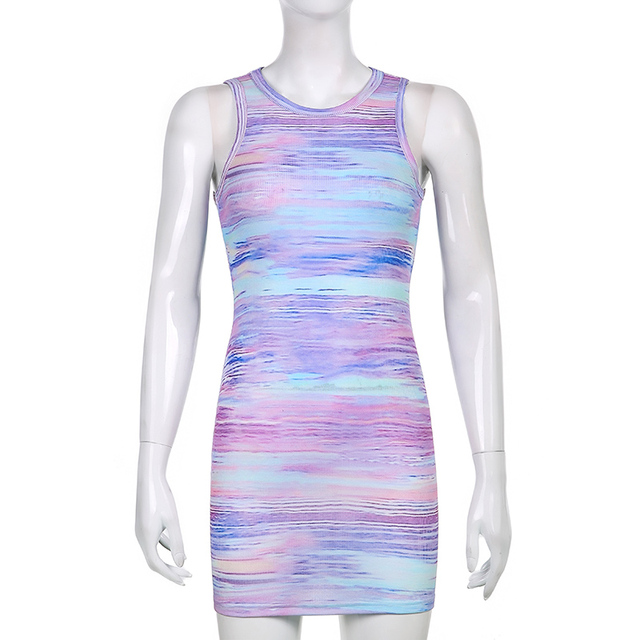 Sweetown Tie Dye Print Knitted Beach Strap Dresses Women Y2K Club Outfits Off Shoulder Slim Sexy Mini Bodycon Dress Summer 5
