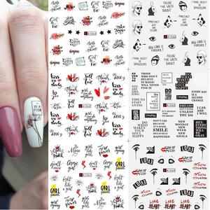 12Pcs Love Letter Watermark Slider For Nail Art Decoration Sticker Water Transfer Decal Flower Leaves Girl Manicures DIY Tips