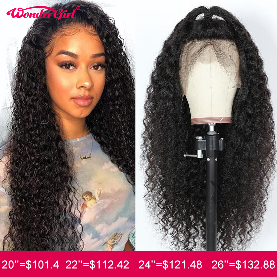 Wonder Girl 13x6 Curly Human Hair Wig Deep Wave Lace Front Human Hair Wigs Remy 360 Lace Frontal Wig Pre Plucked With Baby Hair