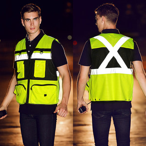 Image 5 - Outdoor Multi pockets Security Traffic Work Clothes Reflective Vest High Visibility Warning Safety Vest Fluorescent Clothing