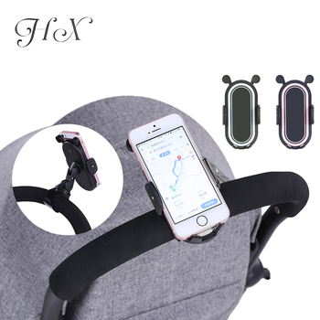 HX 360 Degree Rotate Baby Stroller Accessories Universal Holder Adjustable Mount Bracket Mobile Phone Stander Black White Pink 1
