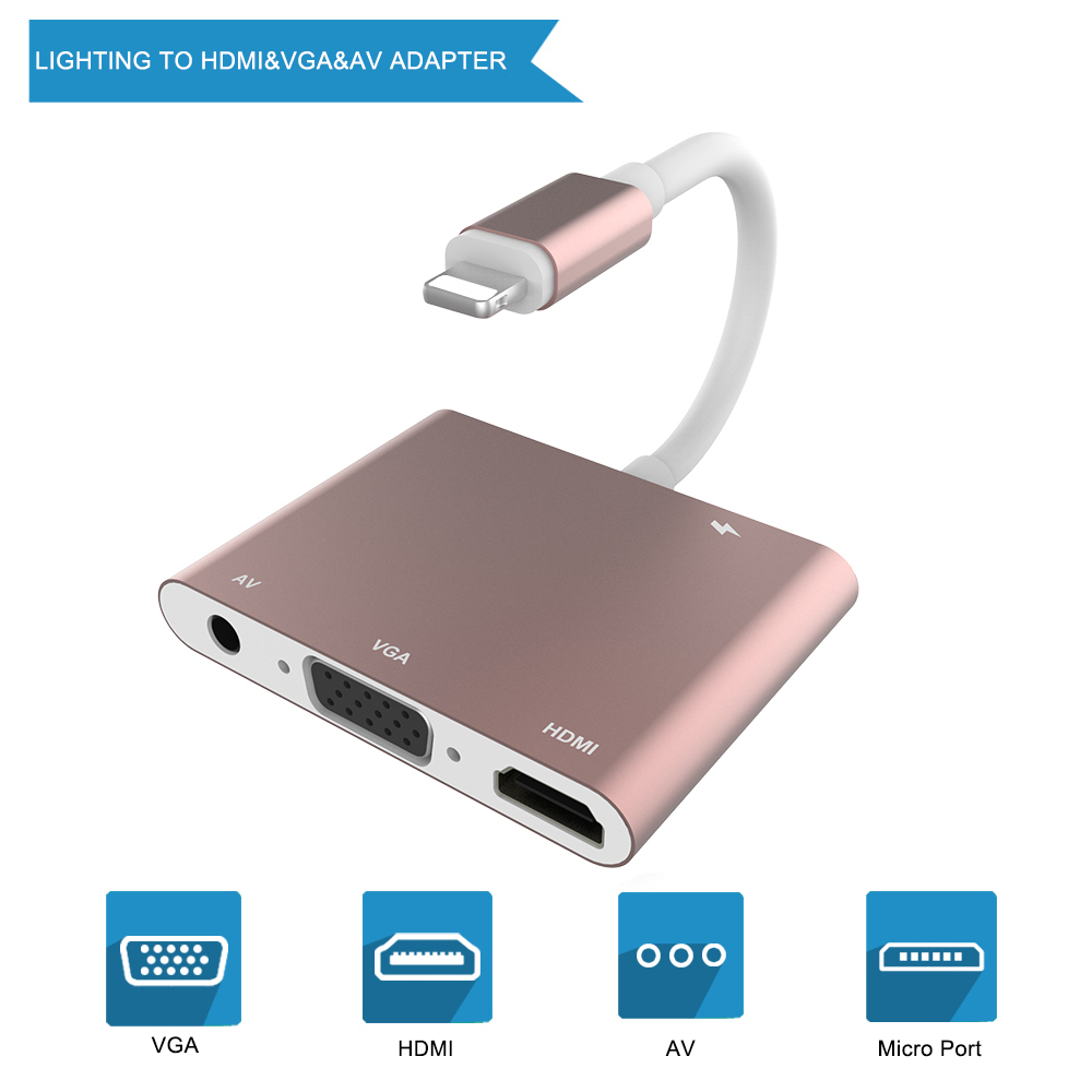 THT-007-3 4 In 1 Lightning To HDMI/VGA/AV Adapter  For IPhone Xs X 8 7 6plus For IPad Air/mini/pro