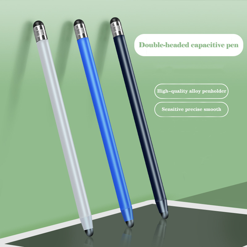 14cm Universal Pencil Double Dual Silicon Head Touch Capacitive Screen Stylus Caneta Capacitiva Pen For Ipad Tablet Smartphone