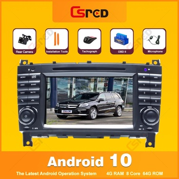 Csred Auto Radio Android 10 For Mercedes Benz C Class W203 2004-2007 CLK W209 Radio GPS Navigation Intelligent Multimedia Player image